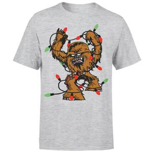 Star Wars Weihnachten Chewbacca Tangled Fairy Lights T-Shirt - Grau