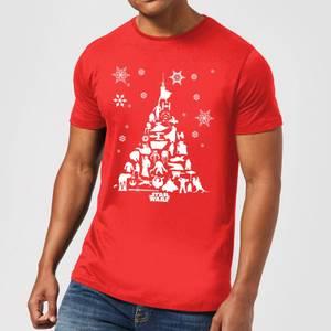 Star Wars Christmas Character Tree Red T-Shirt