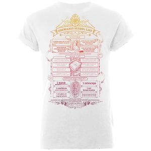 Harry Potter Hogwarts School List Men's White T-Shirt