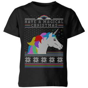 Have a magical Christmas Fair isle Kids' T-Shirt - Black