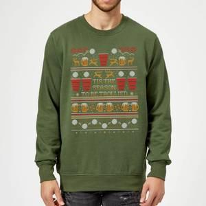 Tis The Season To Be Trollied Sweatshirt - Forest Green