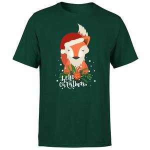 Christmas Fox Hello Christmas T-Shirt - Forest Green