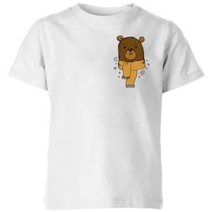 Christmas Bear Pocket Kids' T-Shirt - White