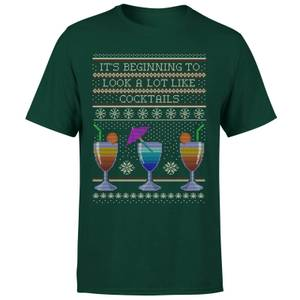 Its Beginning To Look A Lot Like Cocktails T-Shirt - Forest Green