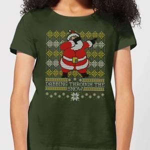 Dabbing through the snow Fair Isle Women's T-Shirt - Forest Green