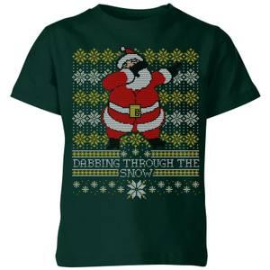 Dabbing through the snow Fair Isle Kids' T-Shirt - Forest Green