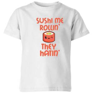 "Camiseta Kawaii ""Sushi Me Rollin' They Hatin'"" - Niño - Blanco"