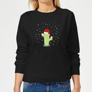 Cactus Santa Hat Women's Sweatshirt - Black