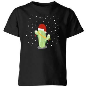 Cactus Santa Hat Kids' T-Shirt - Black