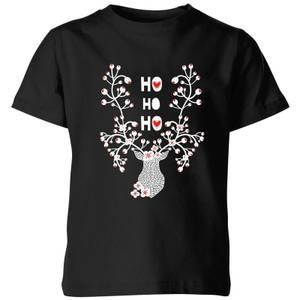 Ho Ho Ho Reindeer Kids' T-Shirt - Black