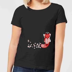 Flower Fox Women's T-Shirt - Black