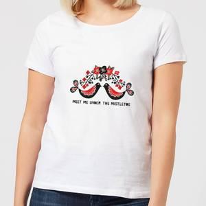 Meet Me Underneath The Mistletoe Women's T-Shirt - White