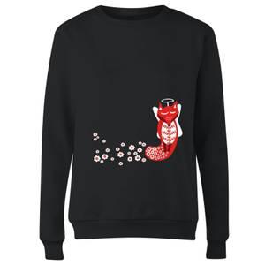Flower Fox Women's Sweatshirt - Black