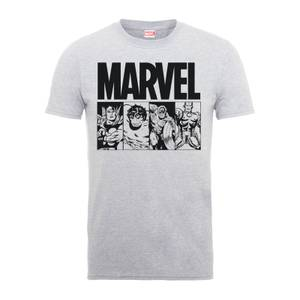 Marvel Comics Action Tiles Men's Grey T-Shirt