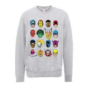 Sweat Homme Visages Couleurs - Marvel Comics - Gris