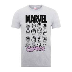 T-Shirt Homme Multi-Visages - Marvel Comics - Gris