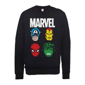 Marvel Comics Main Character Faces Men's Black Sweatshirt