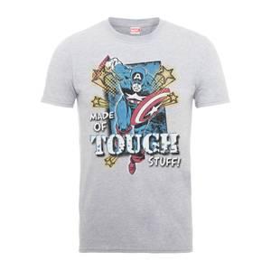 T-Shirt Homme Made Of Tough Stuff - Captain America - Marvel Comics - Gris