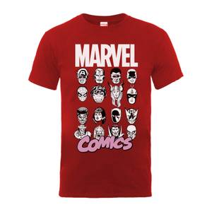 Marvel Comics Multi-Faces Men's Red T-Shirt