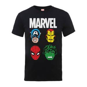 Marvel Comics Main Character Faces Männer T-Shirt - Schwarz