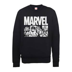 Marvel Comics Action Tiles Men's Black Sweatshirt