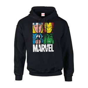Marvel Multi Colour Main Tile Men's Black Pullover Hoodie