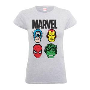 Marvel Comics Main Character Faces Frauen T-Shirt - Grau