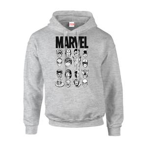 Sweat à Capuche Homme Multi-Visages Pullover - Marvel Comics - Gris