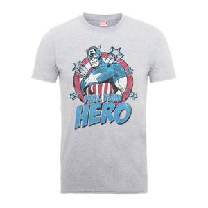 T-Shirt Homme Full Time Hero - Captain America - Marvel Comics - Gris