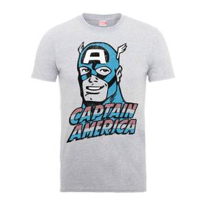 Marvel Comics Captain America Distressed Men's Grey T-Shirt