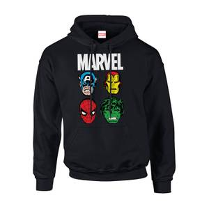 Marvel Comics Main Character Faces Men's Black Pullover Hoodie