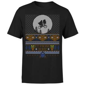 T-Shirt de Noël Homme E.T Téléphone Maison - Noir