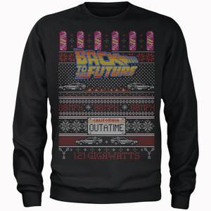 Back To The Future OUTATIME Men's Christmas Sweater - Black