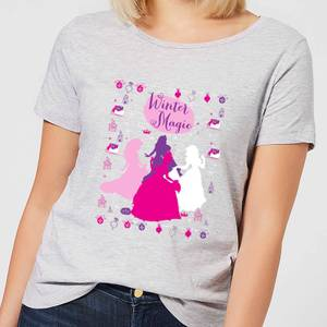Disney Princesses Christmas Silhouette Winter Magic Women's Grey T-Shirt