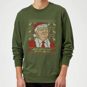 Make Christmas Great Again Weihnachtspullover – Grün
