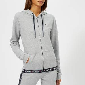 Tommy Hilfiger Women's Hoody Zip Top with Logo Trim at the Bottom - Grey