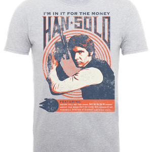 Star Wars Han Solo Retro Poster T-Shirt - Grey