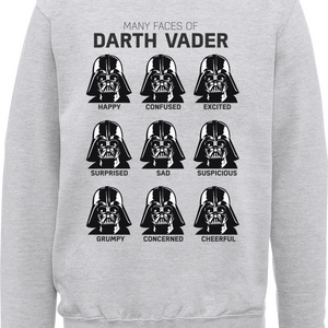 Star Wars Many Faces Of Darth Vader Sweatshirt - Grey