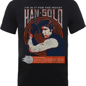 T-Shirt Star Wars Han Solo Retro Poster- Nero