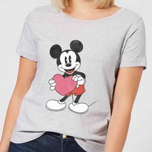 T-Shirt Femme Mickey Mouse Je t'Offre mon Cœur (Disney) - Gris