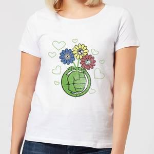 Marvel Avengers Hulk Flower Fist Women's T-Shirt - White