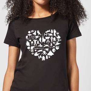 T-Shirt Femme Collage Cœur (Star Wars) - Noir