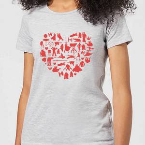 Star Wars Valentine's Heart Montage Women's T-Shirt - Grey