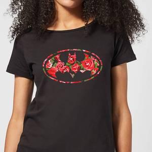DC Comics Floral Batman Logo Women's T-Shirt in Black