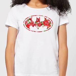 DC Comics Floral Batman Logo Women's T-Shirt in White