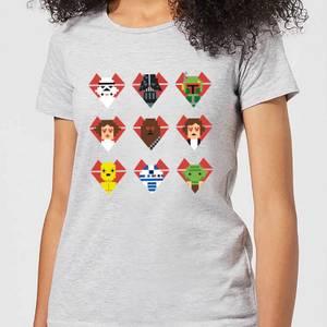 Star Wars Valentine's Pixel Montage Frauen T-Shirt - Grau