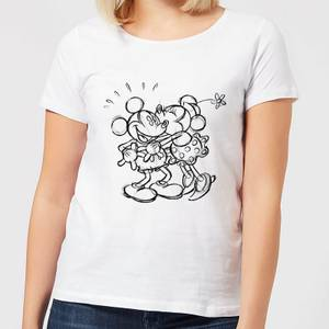 T-Shirt Femme Croquis Bisou Mickey & Minnie Mouse (Disney) - Blanc