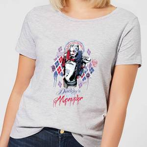 T-Shirt Femme Harley Quinn Daddy's Lil Monster - Suicide Squad (DC Comics) - Gris