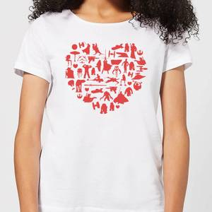Star Wars Valentine's Heart Montage Women's T-Shirt - White