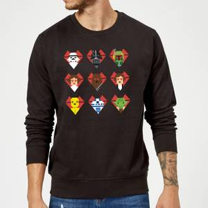 Sweat Homme Cœurs Pixels (Star Wars) - Noir